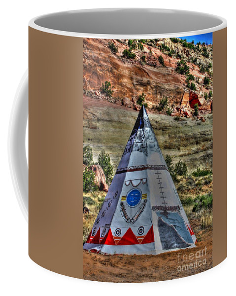 Route 66 Coffee Mug featuring the photograph Navajo Trading Post Teepee by Tommy Anderson