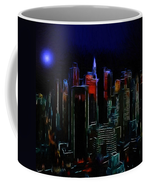 New York City Nyc Ny Big Apple Skyscrapers Night Ligh Lights Moon Moonlight Oil Painting Expressionism Blue Color Colorful Modern Art Cityscape Nightscape Midnight  Coffee Mug featuring the painting New York Midnight by Steve K