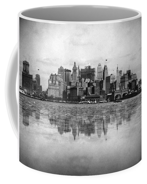 1920's Coffee Mug featuring the photograph New York Skyline Reflected by Underwood Archives