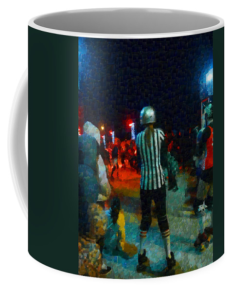 Roller Coffee Mug featuring the photograph Night At The Roller Derby by Steve Taylor
