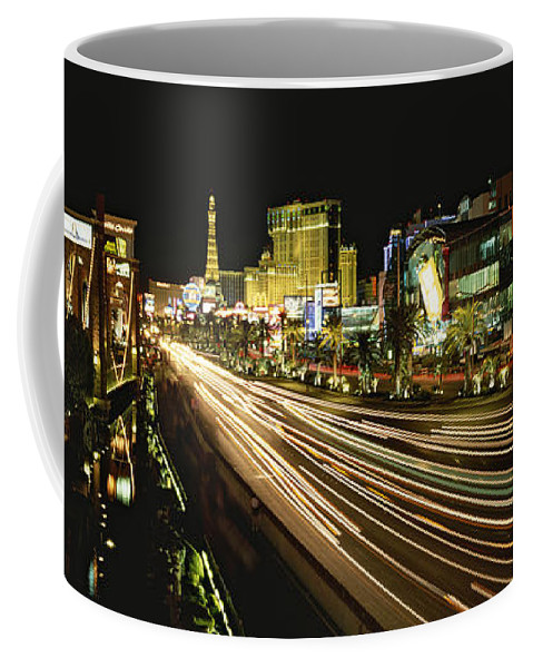 North America Coffee Mug featuring the photograph Night Exposure Of The Strip On Las by Rich Reid