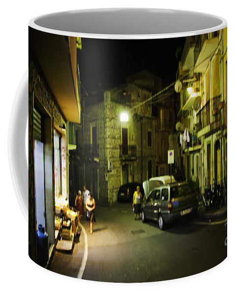 Night Coffee Mug featuring the photograph Night Scene In Sicily by Madeline Ellis