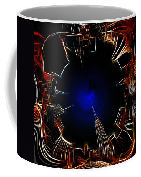 New York City Nyc Ny Big Apple Skyscrapers Night Ligh Lights Moon Moonlightpainting Expressionism Blue Color Colorful Modern Art Cityscape Nightscape Abstract Digital View Coffee Mug featuring the digital art Night View by Steve K