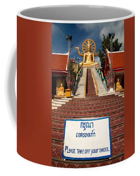 Buddha Coffee Mug featuring the photograph No Shoes by Adrian Evans
