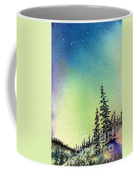 Coffee Mug featuring the painting Northern Lights - D by Mohamed Hirji