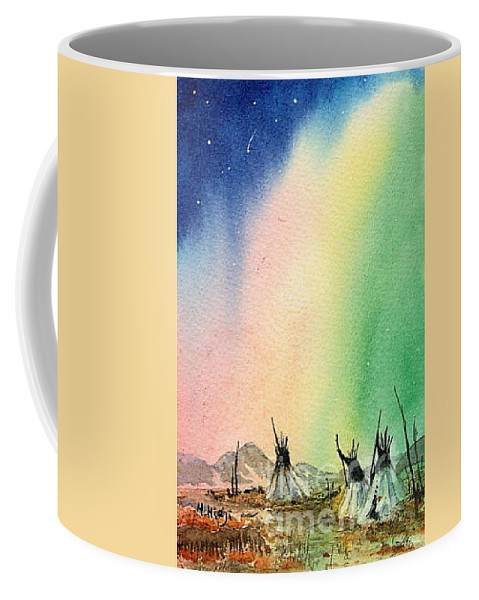Coffee Mug featuring the painting Northern Lights - F by Mohamed Hirji