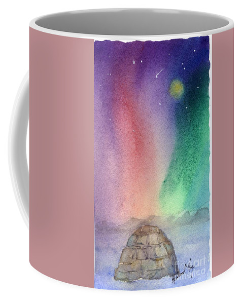Coffee Mug featuring the painting Northern Lights 4 by Mohamed Hirji