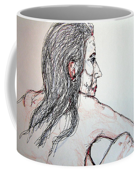 Nude Coffee Mug featuring the drawing Nude Sitting by Rand Swift
