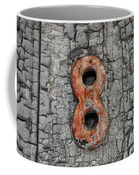 Number 8 And The Peeling Paint Coffee Mug featuring the photograph Number 8 And The Peeling Paint by Bill Cannon
