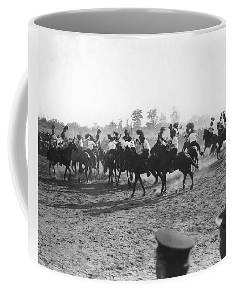 1920's Coffee Mug featuring the photograph Ny Police Fencing On Horseback by Underwood Archives