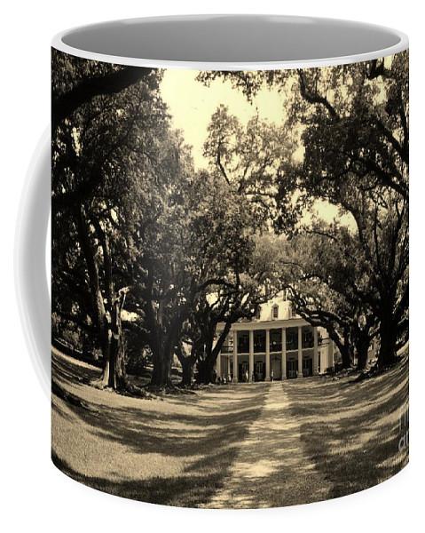 Plantation Coffee Mug featuring the photograph Oak Alley Sepia by John Malone