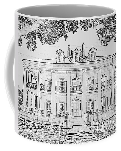 Register Coffee Mug featuring the photograph Oak Alley Sketch by Jim Chamberlain
