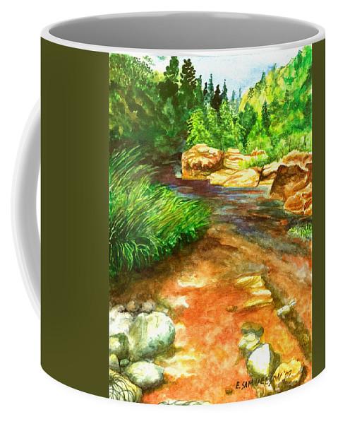 Arizona Coffee Mug featuring the painting Oak Creek Red by Eric Samuelson