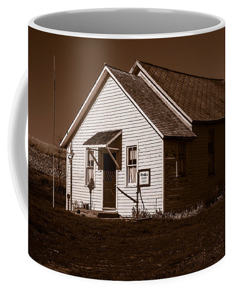 Rural School Coffee Mug featuring the photograph Oaks School 1870 by Edward Peterson