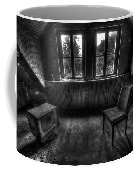 Urbex Coffee Mug featuring the photograph Old Black And White Tv by Nathan Wright