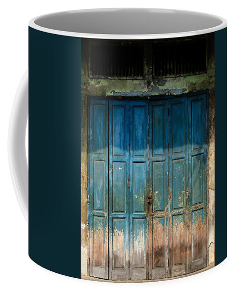 Contrasts Coffee Mug featuring the photograph old door in China town by Setsiri Silapasuwanchai
