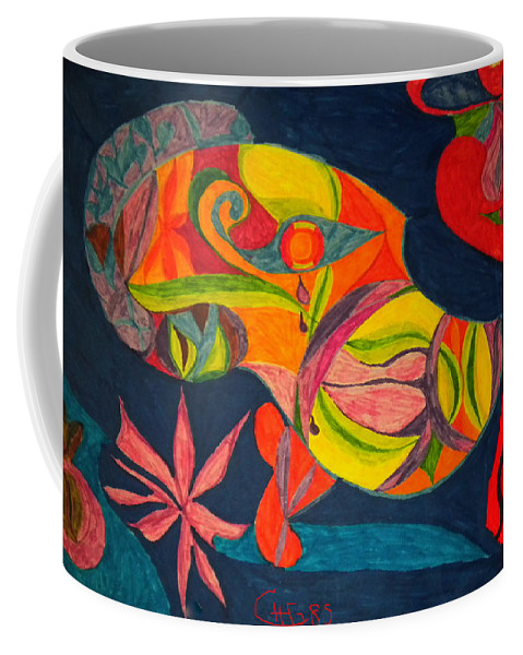 Colette Coffee Mug featuring the drawing Old Drawing I Painted In 1985 by Colette V Hera Guggenheim