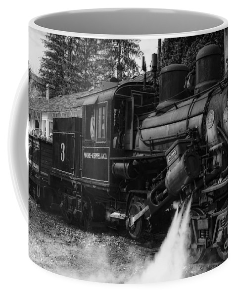 Durbin Rocket Coffee Mug featuring the photograph Old Number Three_climax Locomotive_durbin Wv _bw by Kathleen K Parker