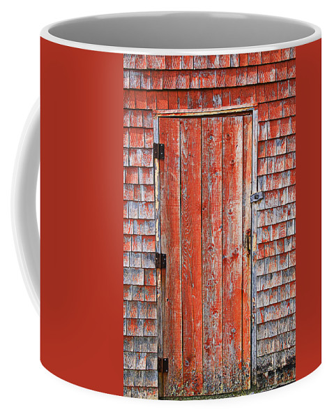 Peggy's Cove Coffee Mug featuring the photograph Old Orange Door by Garry Gay