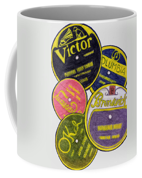 Nostalgia Coffee Mug featuring the drawing Old Record Labels by Mel Thompson