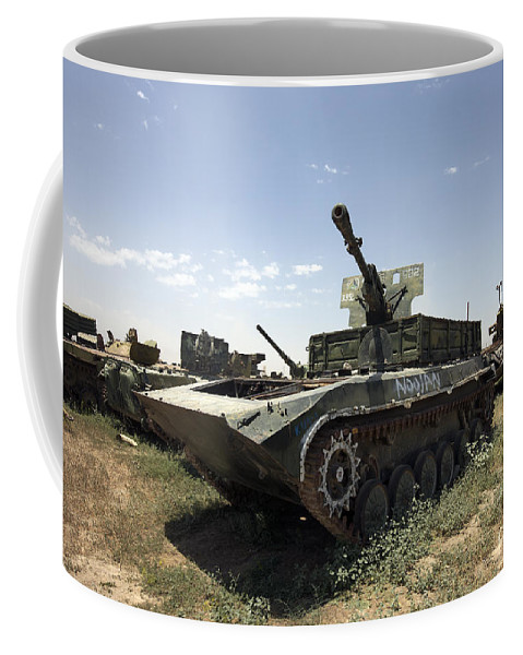 Army Coffee Mug featuring the photograph Old Russian Bmp-1 Infantry Fighting by Terry Moore