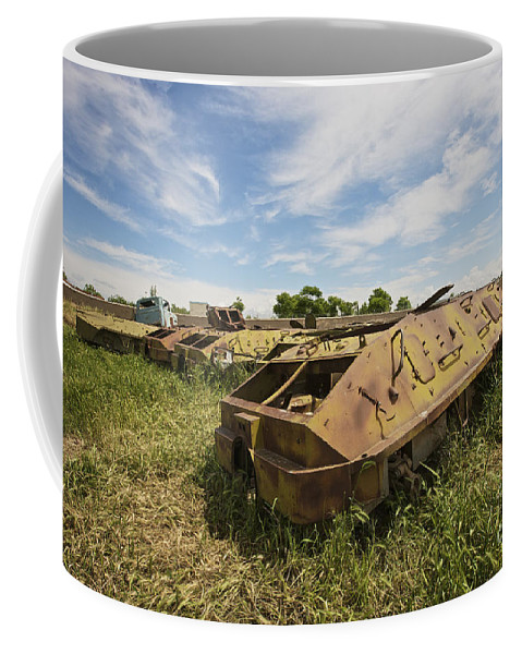 Armor Coffee Mug featuring the photograph Old Russian Btr-60 Armored Personnel by Terry Moore