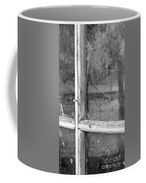 Black&white Coffee Mug featuring the photograph Old Window Reflection by Sandra Bronstein