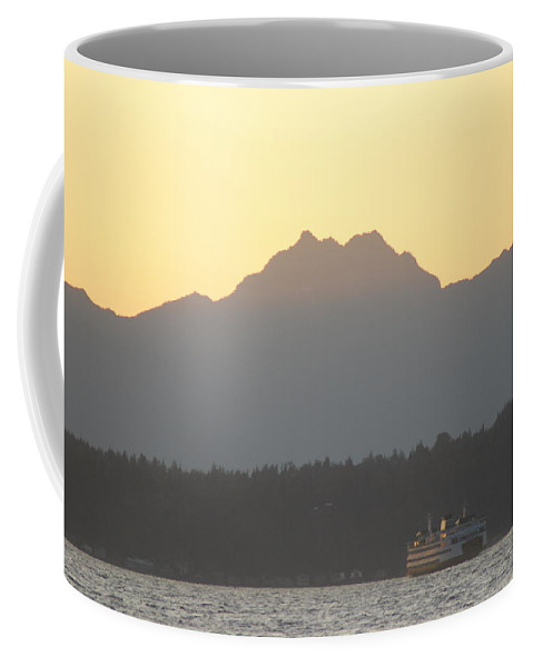 Sunset Coffee Mug featuring the photograph Olympic Mountain Sunset On Puget Sound by Michael Merry
