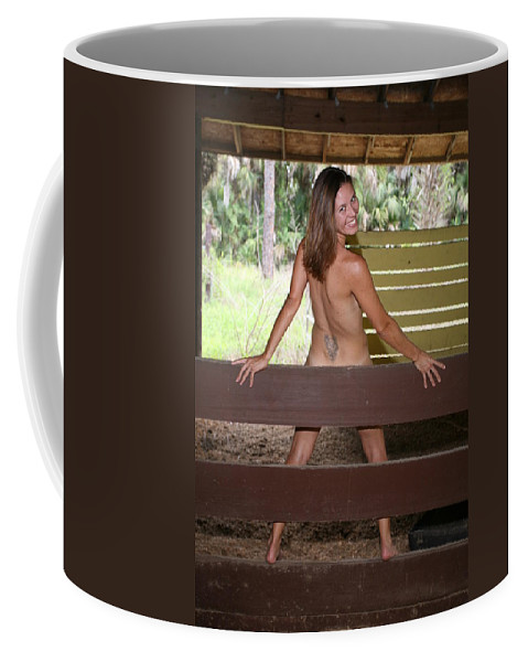 Everglades City Fl.professional Photographer Everglades City Fl. Photographer Everglades City Glamour Everglades City Beauty Everglades City Photographer Lucky Cole Angels Sexy Exotic Natural Beauty Glamorous Environmental Portraits Female Natural Settings Exotic Beauty Wildlife  Everglades City Florida Coffee Mug featuring the photograph On The Fence 819 by Lucky Cole