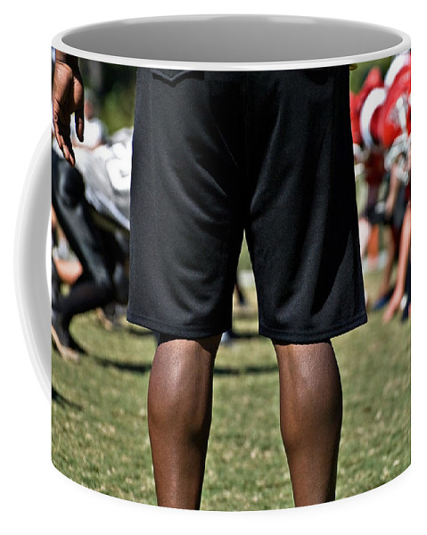 Referee Coffee Mug featuring the photograph On The Line by Susan Leggett