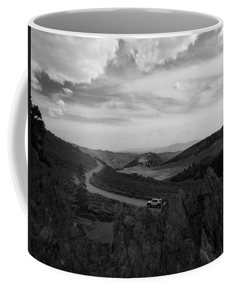 Black And White Coffee Mug featuring the photograph On The Road To Somewhere by Joe Schofield
