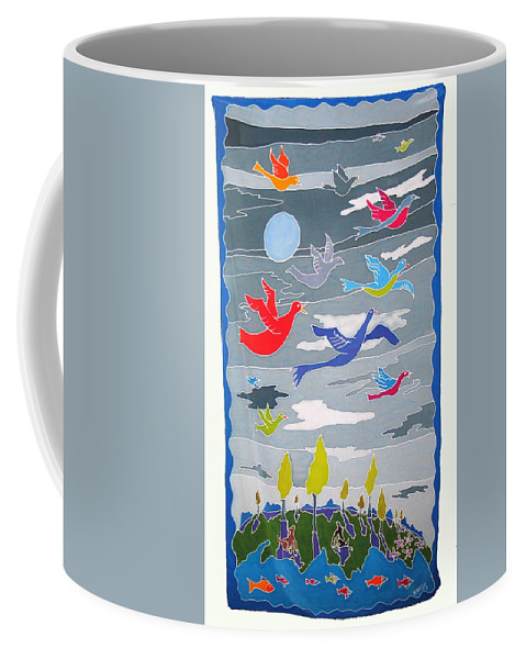 Landscape Coffee Mug featuring the painting Once In A Blue Moon by Rollin Kocsis