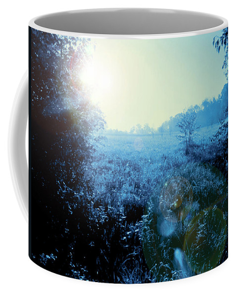 Blue Coffee Mug featuring the photograph One Blue Morning by Kathy Clark