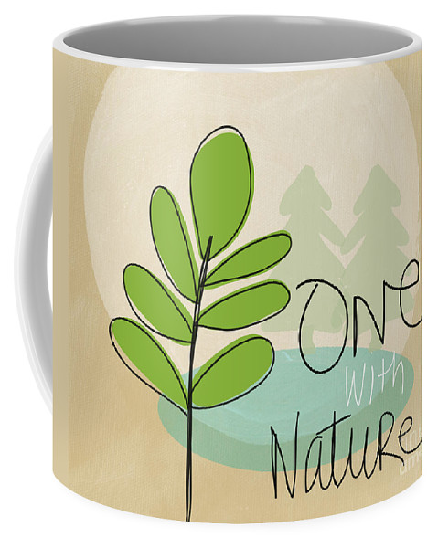 Tree Coffee Mug featuring the painting One With Nature by Linda Woods