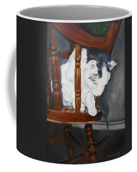 Cat Coffee Mug featuring the painting Oops by Lori Brackett
