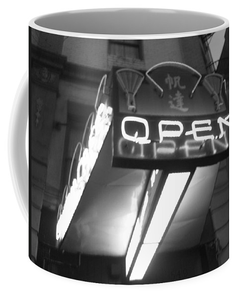 Open Sign Coffee Mug featuring the photograph Open For Business Bw by Marilyn Wilson