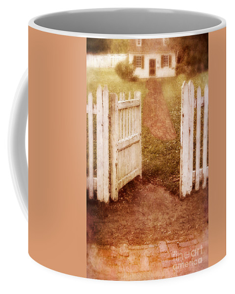 House Coffee Mug featuring the photograph Open Gate To Cottage by Jill Battaglia