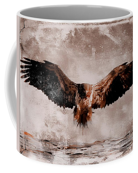 Bald Eagle Coffee Mug featuring the mixed media Open Wings by Gail Bridger