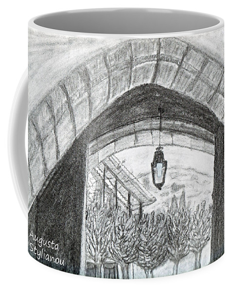 Arch Coffee Mug featuring the drawing Opening Door To Light by Augusta Stylianou