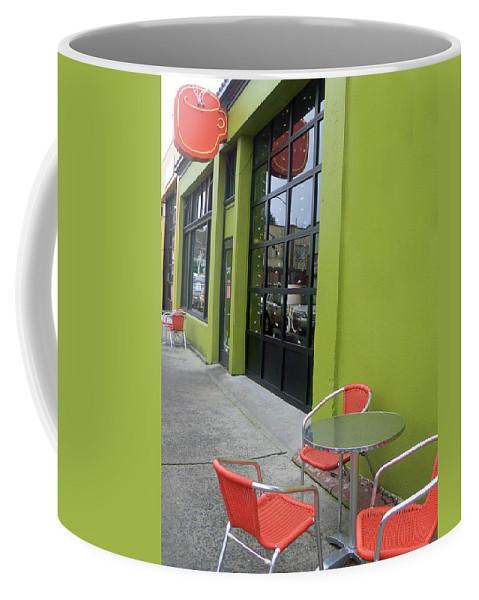 Coffee Coffee Mug featuring the photograph Orange Neon Coffee by Pamela Patch