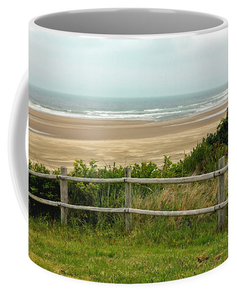 Beach Coffee Mug featuring the photograph Over The Fence Ocean View by Athena Mckinzie