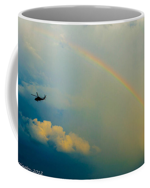 Helicopter Coffee Mug featuring the photograph Over The Rainbow by Shannon Harrington