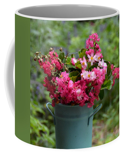 Flowers Coffee Mug featuring the photograph Painted Bucket Of Flowers by Carla Parris