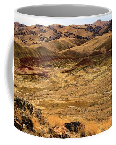 John Day Fossil Beds Coffee Mug featuring the photograph Painted Hills Landscape by Adam Jewell
