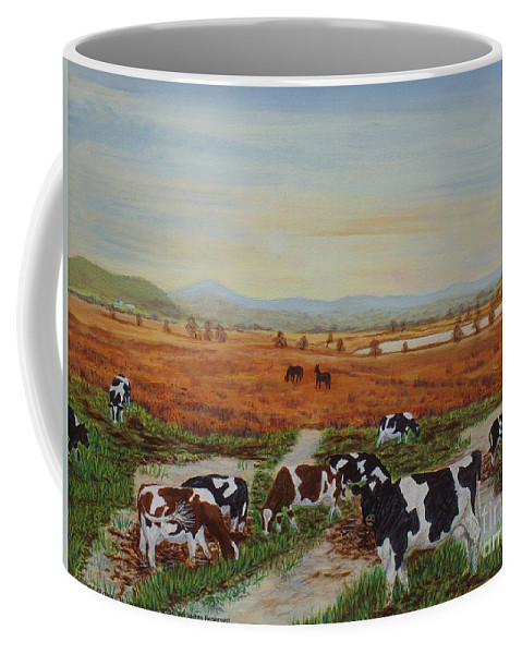 Cors Caron Coffee Mug featuring the painting Painting Cows On Cors Caron Tregaron by Edward McNaught-Davis