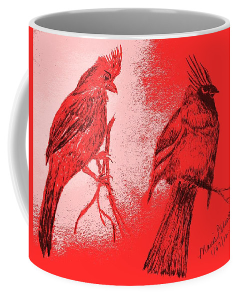 Cardinal Coffee Mug featuring the drawing Pair Of Cardinals by Maria Urso