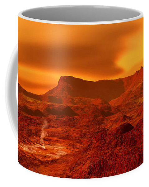 Color Image Coffee Mug featuring the digital art Panorama Of A Landscape On Venus At 700 by Ron Miller