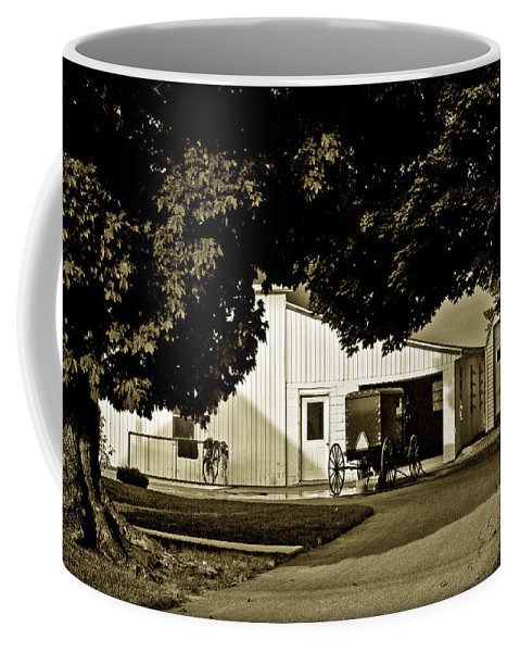 Buggy Coffee Mug featuring the photograph Parked Buggy - Lancaster Pennsylvania by Madeline Ellis