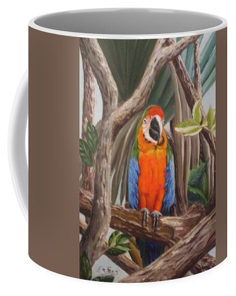 New Orleans Parrot Coffee Mug featuring the photograph Parrot At New Orleans Zoo by Evelyn Froisland