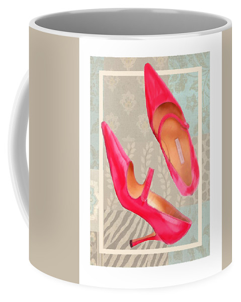 Shoes Heels Pumps Fashion Designer Feet Foot Shoe Stilettos Painting Paintings Illustration Illustrations Sketch Sketches Drawing Drawings Pump Stiletto Fetish Designer Fashion Boot Boots Footwear Sandal Sandals High+heels High+heel Women's+shoes Graphic Sophisticated Elegant Modern Coffee Mug featuring the painting Passion Pink Strapped Pumps by Elaine Plesser